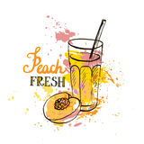 Hand drawn peach juice in glass Stock Photography
