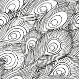 Hand-drawn peacock feathers Royalty Free Stock Image