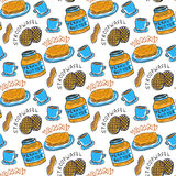 Hand drawn peanut butter seamless pattern. Vector background with breakfast, tea, nuts, stroopwafel and pancakes. For wrapping and Royalty Free Stock Photography