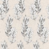Hand drawn pen grayscale seamless pattern with olive branches stock illustration