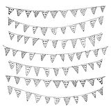 Hand drawn pen and ink style illustration of bunting Stock Photography