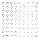 Hand drawn pen and ink style illustration of hearts Royalty Free Stock Photos