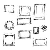 Hand drawn pen and ink style illustration of picture frames. Hand drawn pen and ink illustration of picture frames on a white background Royalty Free Stock Photography