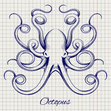 Hand drawn pen sketch octopus Royalty Free Stock Images
