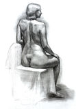 Hand drawn pencil black and white illustration of woman figure Royalty Free Stock Images