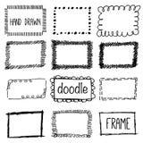 Hand drawn pencil doodle frame. Sketch design concept. royalty free illustration