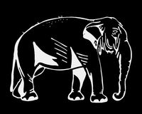 Hand-drawn pencil graphics, elephant. Engraving, stencil style. Black and white logo, sign, emblem, symbol. Stamp, seal Royalty Free Stock Image