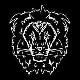 Hand-drawn pencil graphics, lion head. Engraving, stencil style. Black and white logo, sign, emblem, symbol. Stamp, seal Royalty Free Stock Photo