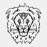 Hand-drawn pencil graphics, lion head. Engraving, stencil style. Black and white logo, sign, emblem, symbol. Stamp, seal. Simple i Royalty Free Stock Photos