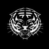 Hand-drawn pencil graphics, tiger head. Engraving, stencil style. Black and white logo, sign, emblem, symbol. Stamp Stock Photo