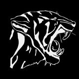 Hand-drawn pencil graphics, tiger head. Engraving, stencil style. Black and white logo, sign, emblem, symbol. Stamp Royalty Free Stock Photography