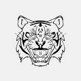 Hand-drawn pencil graphics, tiger head. Engraving, stencil style. Black and white logo, sign, emblem, symbol. Stamp Royalty Free Stock Image