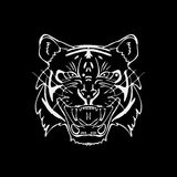 Hand-drawn pencil graphics, tiger head. Engraving, stencil style. Black and white logo, sign, emblem, symbol. Stamp, seal. Simple Royalty Free Stock Image