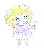 Hand drawn pencil illustration of a cute little girl Royalty Free Stock Image
