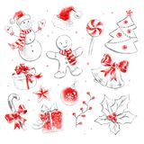 Collection of Christmas objects Royalty Free Stock Image