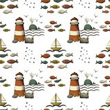 Hand drawn sea life and nautical seamless pattern background royalty free stock photo