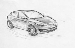 Hand drawn pencil sketch of a car. Hand drawn pencil sketch illustration of a moving car on the road Stock Photos