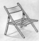 Hand drawn pencil sketch of a folding chair. With shadow under it Stock Photo