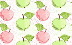 Hand drawn with pencils green pink apples on white Stock Images