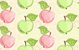 Hand drawn with pencils green pink apples on yellow Stock Photography
