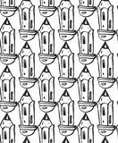 Hand drawn pencils. Seamless pattern.Background. Stock Photos