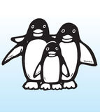 Hand drawn penguin family Royalty Free Stock Photos