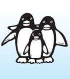Hand drawn penguin family Royalty Free Stock Photos