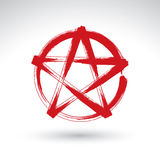 Hand drawn pentagram icon scanned and vectorized Royalty Free Stock Photos