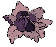 Hand drawn Peony flower.Chinese flower vector tattoo.Doodle art peony tattoo. Royalty Free Stock Photography