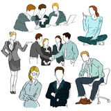 Hand drawn people. Hand drawn business people collection Vector Illustration