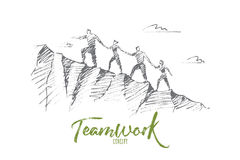 Hand drawn people climbing up hill holding hands. Vector hand drawn teamwork concept sketch. Bisiness people together trying to climb up mountain holding each Royalty Free Stock Images