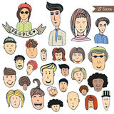 Hand drawn people crowd doodle collection of avatars. Cartoon people vector set. Sketch icons with funny faces Royalty Free Stock Photography