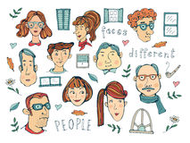 Hand drawn people faces collection Royalty Free Stock Photo