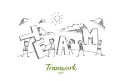 Hand drawn people holding letters of the word team stock illustration