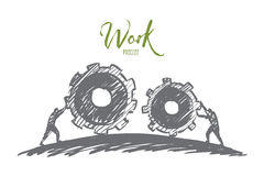 Hand drawn people pulling cogwheels towards. Vector hand drawn work concept sketch with people pulling huge cogwheels towards each other with lettering Stock Photos