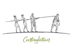 Hand drawn people pulling rope to different sides Royalty Free Stock Photos