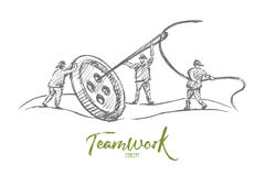 Hand drawn people sewing button together in team Stock Image