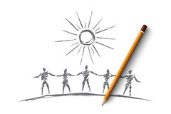 Hand drawn people team silhouettes holding hands Royalty Free Stock Photo