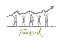 Hand drawn people teamwork concept with lettering vector illustration