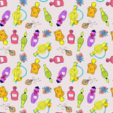 Hand drawn perfume bottles pattern Stock Image