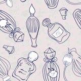 Hand drawn perfume fragrances bottles Royalty Free Stock Images