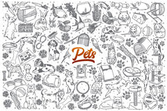 Hand drawn Pets doodle set with lettering Stock Image