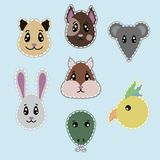 Hand Drawn Pets Heads Set. With dog cat mouse rabbit parrot hamster lizard isolated vector illustration Royalty Free Stock Photo