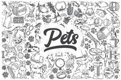 Hand drawn pets vector doodle set. stock illustration