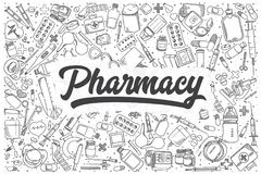 Hand Drawn Pharmacy Vector Doodle Set. Stock Photography