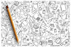 Hand drawn Pharmacy vector doodle set. Background Royalty Free Stock Image
