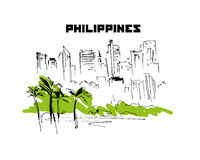 Hand drawn Philippines city scape sketch. Urban city view. Nature, architect picture. Touristic sight seeing. Print design, book, article illustration. Asia Stock Photos