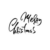 Hand drawn phrase Merry Christmas. Modern dry brush lettering design for posters, t-shirts, cards, invitations, stickers Stock Photo