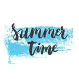 Hand drawn phrase Summer time on the colorful blue sketched background. Hand lettering calligraphy greeting card Stock Photography