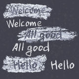 Hand drawn phrases. Chalk on the blackboard. Vector white inscri Stock Photography